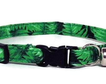 Cute Cat Collar - Rainforest Ferns - Breakaway Safety Cute Fancy Cat Kitten Collar