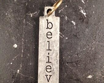 Believe Metal Charm / Believe Tagword / Industrial Jewelry / Jewelry Findings