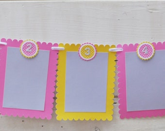 Girl Photo Banner- Pink, Yellow and Grey