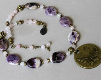 Purple Cape Amethyst and Pink Rose Quartz Large Brass Butterfly Pendant Necklace OOAK