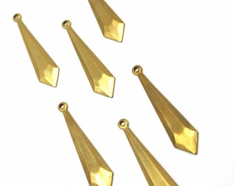 Brass Geometric Faceted Pointed Drop Charms (6X) (M782)