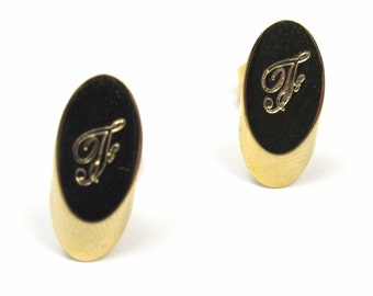 Vintage Gold Plated Oval Script Initial Letter - F - Stud Earrings (2 pairs) (J572-F) SALE - 50% off