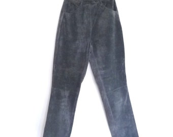 1980s Grey Suede Pants High Waisted