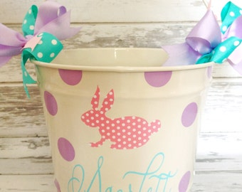 custom 10 QUART bucket with patterned bunny, name and polka dots