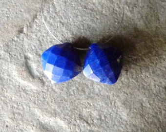 AAA Lapis Lazuli Faceted Diamond Cushion Cut Briolettes - PAIR - 12mm