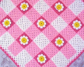 PDF Pattern Crocheted Baby Afghan, Gingham Daisy Baby Afghan Blanket Pattern