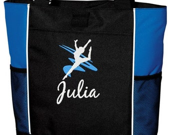 Personalized Dance Tote Bag Embroidered with name Dancer Desingn. Great Gift!