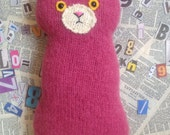 Flat Cat soft toy handmade recycled woollen kitten - Rhubarb
