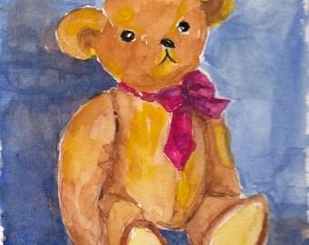 Teddy Bear Watercolor Portrait Original