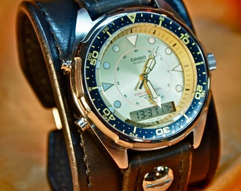 Leather cuff watch Black bridle leather handstitched watch band Bracelet Casio Chronograph Handmade for YOU in NYC by Freddie Matara!