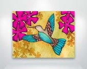 Hummingbird and Flowers  Fine Art Giclée Print