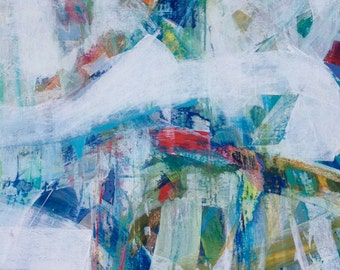 Rainbow, Interrupted original large scale abstract expressionism  painting on canvas
