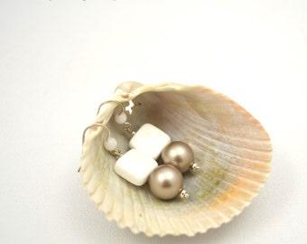 White Agate Earrings, Glass Pearl Earrings, Taupe, Semi Precious Earrings, Semiprecious Stone Earrings, Gemstone Jewelry, Gemstone Earrings