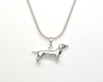 Sterling Silver Weiner Dog Dachshund Pet Breed Charm Pendant Customize no. 2224