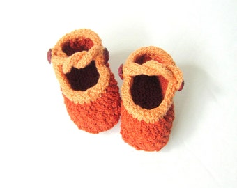 Hand Knit Baby Booties / Baby Girl Shoes - Criss Cross Mary Jane Made to Order