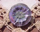 Metallic Lilac Flower Czech Glass Button