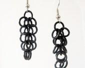 Short Black Shaggy Loops Chainmaille Earrings Handmade