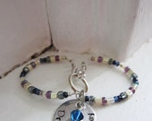 Silver Figure-8 Steth Tag (personalized stethoscope identification name charm with your custom colors)