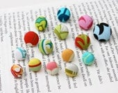 Fabric Covered Button Thumbtacks Pushpins - Mixed Assortment of 15 (d)