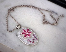 Swarovski crystal Pink tones ceralun crystal clay pendant with filigree decoration