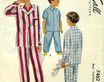 McCALL 7462 Boys' Size 6 Drawstring Pajamas Like Dad's 1950s
