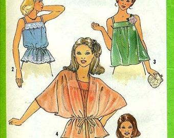 Simplicity 8739 Youthful Pullover Tops circa 1978