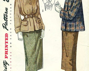 Simplicity 2939 Ladies Petite Sized Suit Wonderfully Styled Jacket and Slim Skirt (1949)