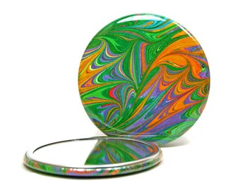 Marbled Pocket Mirror no.3, Bright Rainbow Leaf Pattern, Marbled Paper Mirror, Small Glass Mirror