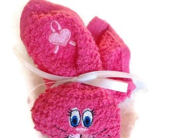 Boo Boo Bunny Breast Cancer HOT PINK Boo-boo Bunny Rabbit Embroidered Gift Basket Heart Ribbon