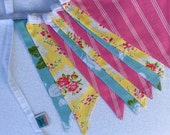 Fabric Flag Bunting Banner Designer's Choice Featuring Yellows, Pinks, and Blues.  Also For Weddings and Parties. Photo Prop, Nursery Decor.