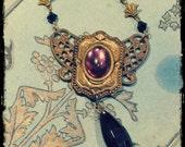 Art Nouveau Necklace, Edwardian Necklace, Brass, Amethyst Glass, Black Glass