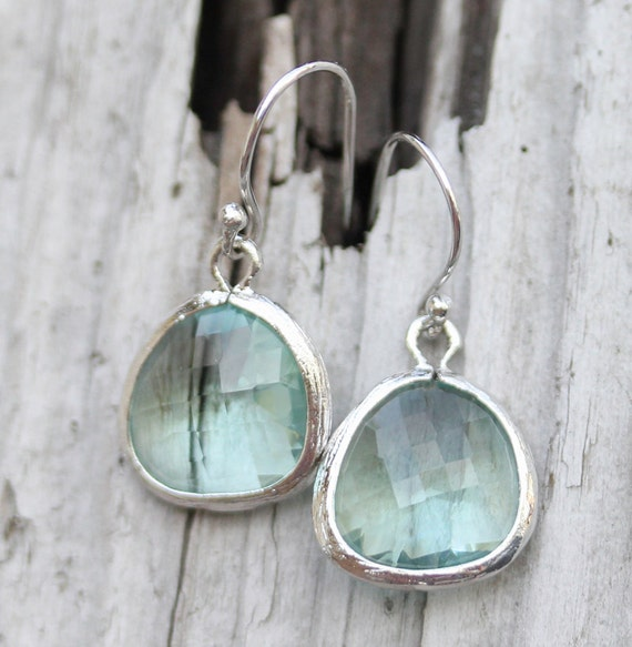 Faceted glass Earrings, sterling wires, Gift for her