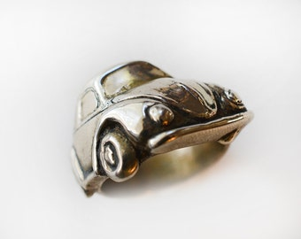 1960's VW Bug Angled Wrap Ring in White or Gold Bronze