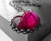Raspberry Magenta Glass Pendant Necklace, Dark Hot Pink, Fuchsia Glass Cabochon, Black Bezel, Long Black Gunmetal Chain, Modern Jewelry