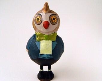 Arthur - Paperclay Mini Sculpture Cake topper Owl