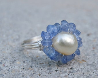 Tanzanite Ring, Pearl Ring, Tanzinite and Pearl Flower Ring, Sterling Silver Tanzanite Ring, RARE Gemstone
