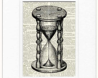 vintage hourglass book page print