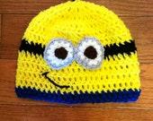 Minion Beanie Minion Hat Minion Costume Minion-sizes newborn through adult-photo prop-costume idea