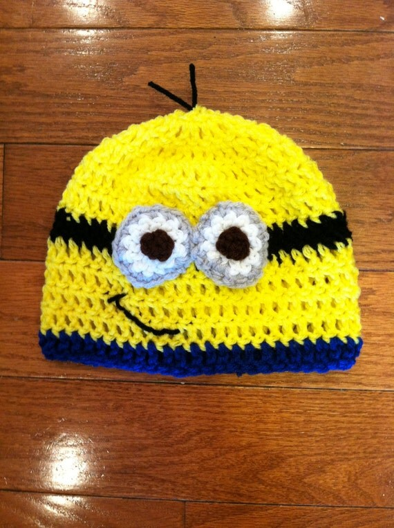Items similar to Minion Beanie Minion Hat Minion Costume Minion-sizes newborn through adult-photo prop-costume idea on Etsy & Items similar to Minion Beanie Minion Hat Minion Costume Minion ...