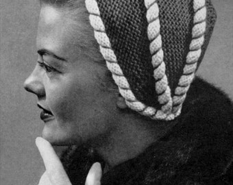 Peppermint Topping - Vintage 40s 50s Knitted Hat Pattern - PDF eBook