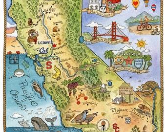 "California State Art Map 16"" x 20"""