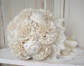 RESERVED Fabric Bouquet, Weddings, Bouquet, Vintage Wedding, Alternative Bouquet