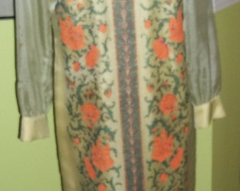 Incredible ALFRED SHAHEEN Oriental Hand Screened Maxi Sari Dress