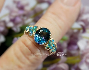 Peacock Blue Rainbow Mystic Topaz Wire Wrapped Ring Rainbow Blue Mystic Topaz Ring Fine Jewelry November Birthstone Unique Engagement Gift