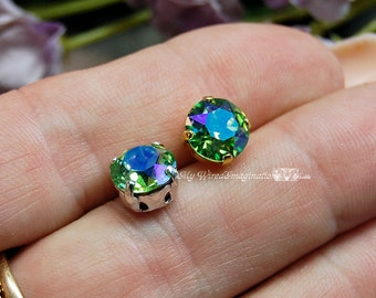 Peridot Shimmer Sew On Swarovski Crystal 39ss Xirus Chaton 8mm With Prong Setting Craft Supplies Jewelry Making August Birthstone