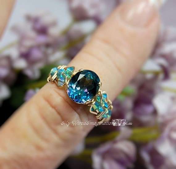 Mystic Topaz Ring Peacock Blue Mystic Topaz Wire Wrap Ring