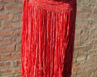Red with White Crochet Ribbon Fringed Shawl
