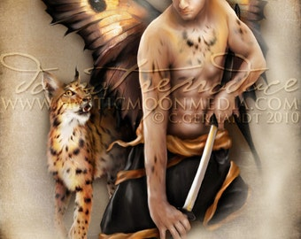 Lynx... Warrior Fay... Men Fairy Picture Art... Matted Print... Fantasy Art... Lynx...Handsome Masculine Male Fairy