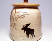 Bear and Moose  Lidded Pottery Canister 3 quart Limited Series 120