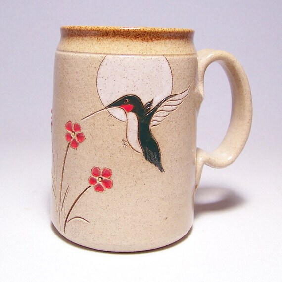 Hummingbird and Red Flowers Pottery  Mega Mug Limited Series 153 (24 ounce microwave safe)